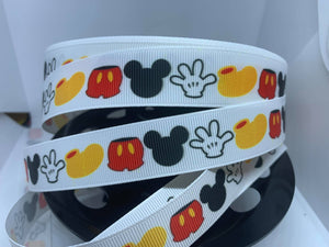 "1 yard 7/8"" Disney Mickey Icon Parts Gloves Shoes Grosgrain Ribbon"