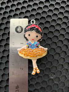 Snow White Ballerina Hand Painted Alloy Metal and Rhinestone  Pendant