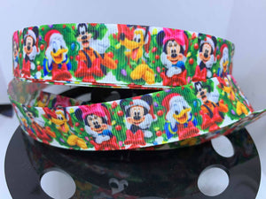 "1 yard 7/8"" New Disney Christmas Mickey and Minnie Donald Goofy Pluto Print Grosgrain Ribbon"