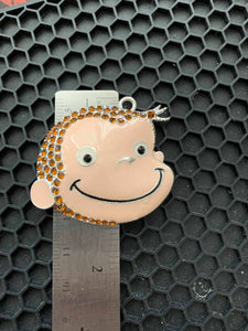 Curious George Hand Painted Alloy Metal  Pendant