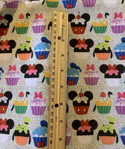 PRINT ON DEMAND 100% Cotton or Cotton Poly Characters Cupcakes