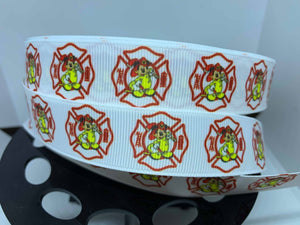 "1 yard 7/8"" Disney Mickey Firefighter Grosgrain Ribbon"