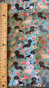 "Cotton Poly Floral Dachshund ""Wiener Dog"" Print Inspired Fabric"