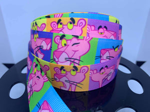 1 yard 1 inch  Vintage Retro Cartoon Pink Panther Grosgrain Ribbon