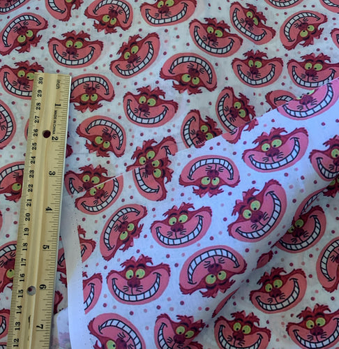 Cotton Poly Alice in Wonderland Cheshire Cat Print print Inspired Fabric