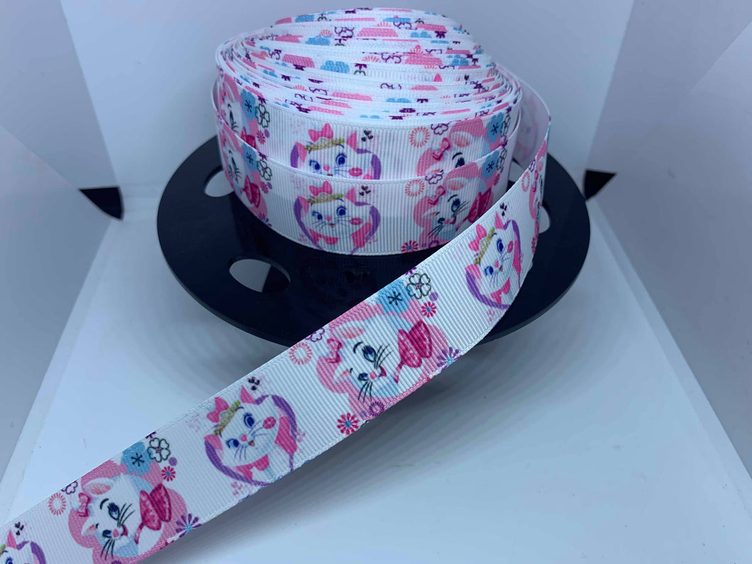 1 yard 1 inch Marie Aristocats Grosgrain Ribbon - Girly Pink Cats Kitten