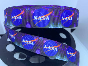"1 yard 7/8"" NASA Space Program STEM Grosgrain Ribbon"