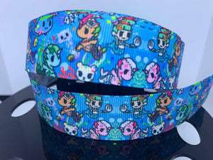 1 yard 1 inch Mermicorno Anime TokiDoki Kawaii Grosgrain Ribbon - Bow Making Ribbon - Grosgrain Toki Doki