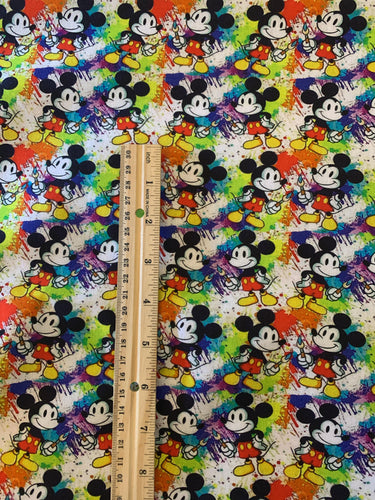 100% Cotton Medium Scale Mickey Mouse World Of Color Rainbow Print