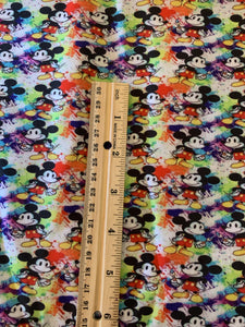Cotton Poly Small Scale Mickey Mouse World Of Color Rainbow Print