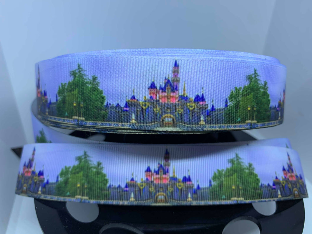 1 yard 1 inch New Paint Disneyland Castle Photo Grosgrain Ribbon