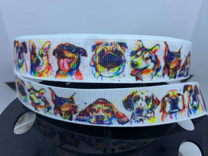"CLEARANCE 1 yard 7/8""  Water Color Dogs Various Breeds Grosgrain Ribbon"