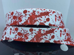 "1 yard 7/8"" Zombie Blood Spatter CSI Murder Grosgrain Ribbon"