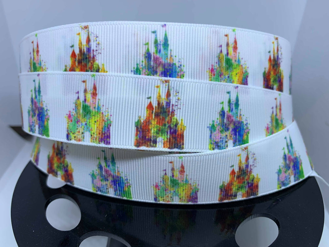 1 yard 1 inch Disney Castle Watercolor Grosgrain Ribbon