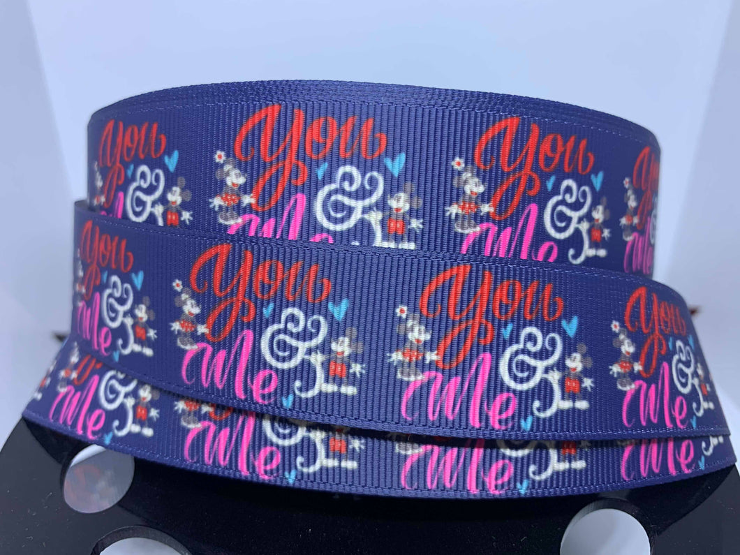 1 Yard 1 inch Mickey and Minnie You and Me print Grosgrain Ribbon