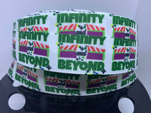 "1 inch Buzz Lightyear ""To Infinity and Beyond"" Toy Story,Grosgrain Ribbon"