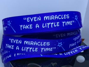 "1 yard 7/8"" Classic Disney Quote Print  Grosgrain Ribbon Fairy Godmother Cinderella"