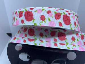 "1 yard 7/8"" Sleeping Beauty Pink Roses Dooney Inspired Grosgrain Ribbon"