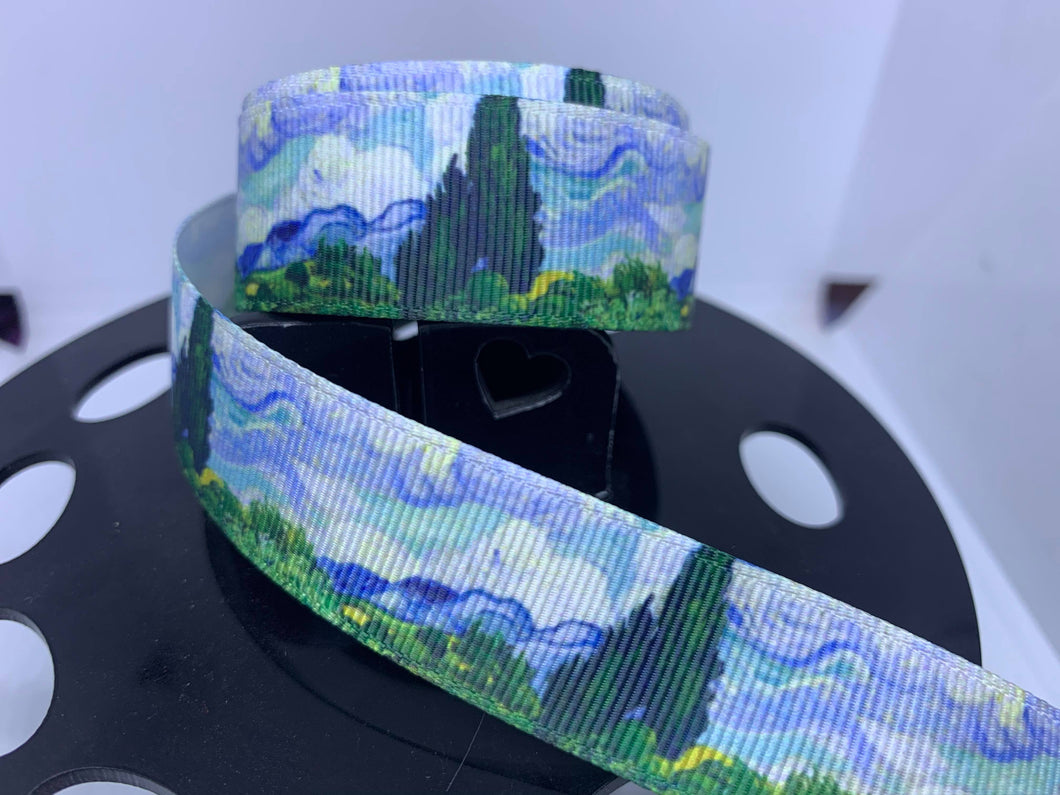 1 yard 1 inch Fine Art Wheat Field with Cypresses by Van Gogh Grosgrain Ribbon