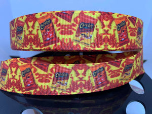 "1 yard 7/8"" Flaming Hot Cheetos Food Grosgrain Ribbon"