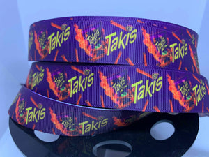 "1 yard 7/8"" Taki's Spicy Snacks Food Grosgrain Ribbon"