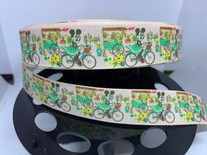 "1 yard 7/8"" Minnie Mouse Flower and Garden 2020 Dooney Purse Print Grosgrain Ribbon"