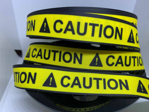 "CLEARANCE 1 yard 7/8"" ""CAUTION"" Grosgrain Ribbon Assistance Dogs PTSD Dogs Guide Dog Collar"