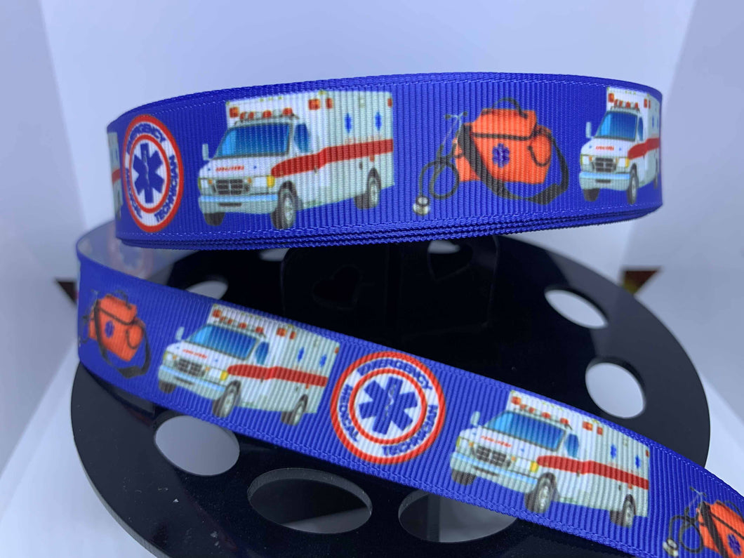 CLEARANCE 1 yard 1 inch First Responders Fire EMT AMbulance Grosgrain Ribbon