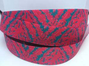 "1 yard 7/8"" Lilly Pulitzer Inspired  Grosgrain classic coral and teal Palm Leaves"