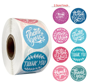 """Thank You"" Pinks, Purples and Blues Labels 500 each roll"