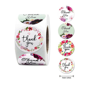 """Thank You"" #2  Print Floral Labels  500 each roll"