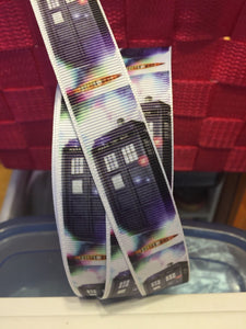 "1 yard 7/8 "" British Blue Police Box Grosgrain Ribbon - Bow Making Ribbon -Whovian Daleck Grosgrain Ribbon - 22 mm Lanyard Style"