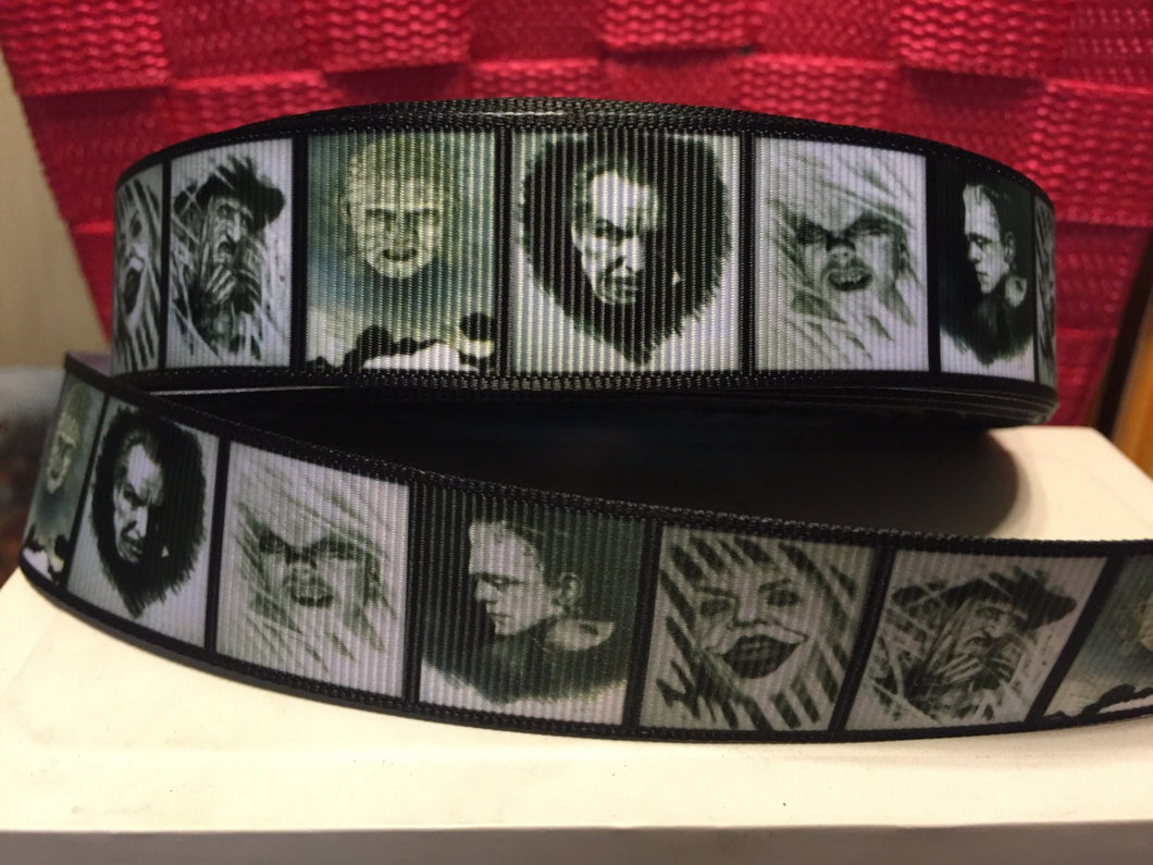 1 yard 1 inch Classic Horror Movies Grosgrain Ribbon - Nightmare Bow Making Ribbon - Frankenstein Joker Vincent Price Halloween