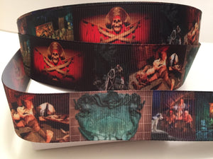 1 yard 1 inch Pirates of he Caribbean Grosgrain Ribbon - Disney Bow Making Ribbon - POC