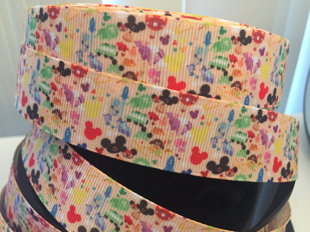 STORE EXCLUSIVE 1 yard 1 inch The Rainbow of Disney Parks Attractions Rides Grosgrain Ribbon Park food/ snacks Bow Making