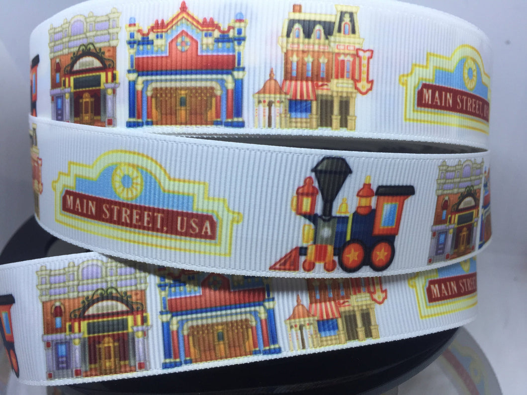 EXCLUSIVE DESIGN 1 yard 1 inch Main Street Disneyland  Grosgrain Ribbon - Park Castle Bow Making Ribbon -DLR Train  Shops Dapper Dan
