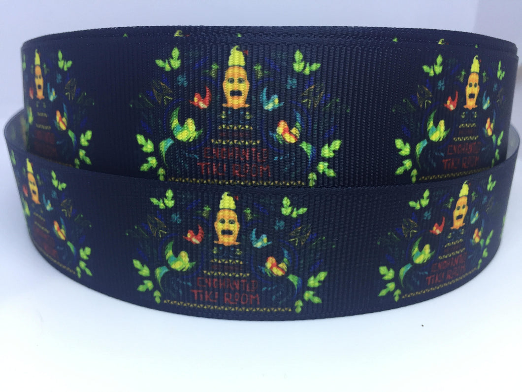 EXCLUSIVE DESIGN 1 yard 1 inch Disneyland Tiki Room Grosgrain Ribbon - Bow Making Ribbon -Tiki Birds Dole Whip Attraction Adventureland