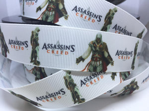 1 yard 1 inch Video Game Assassin's Creed Playstation Grosgrain Ribbon - Comic Bow Making Ribbon - Cosply Grosgrain Ribbon - 25mm Comic Con