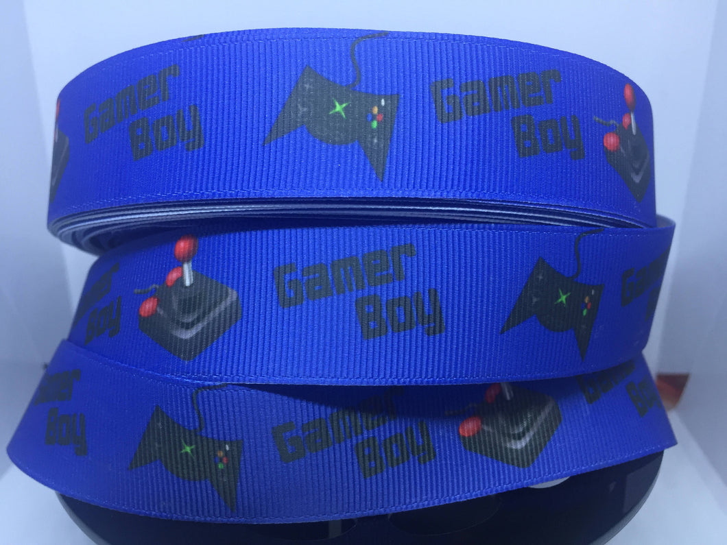 1 yard 1 inch Gamer Boy Video Game  Grosgrain Ribbon - Bow Making Ribbon - 25mm