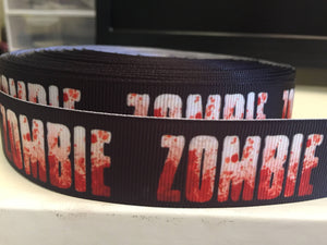 1 yard 1inch Bloody Zombie Dead Grosgrain Ribbon - Comic Bow Making Ribbon - Cosplay - 25mm