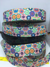 Exclusive 1 yard 1 inch Pretty and Colorful Boho Mickey Flowers silhouette print Bow Making Ribbon - Cosplay Grosgrain Ribbon Retro Vibe