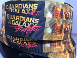 1 yard 1inch Guardians of the Galaxy Mission Breakout Ride Disney Movie Grosgrain Ribbon Groot Bow Making Ribbon - 25mm Rocket GOTG