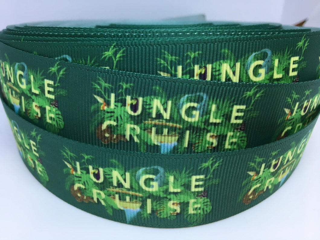 1 yard 1 inch Jungle Cruise Grosgrain Ribbon - Bow Making Ribbon -Hippos Zebras Attraction Adventureland