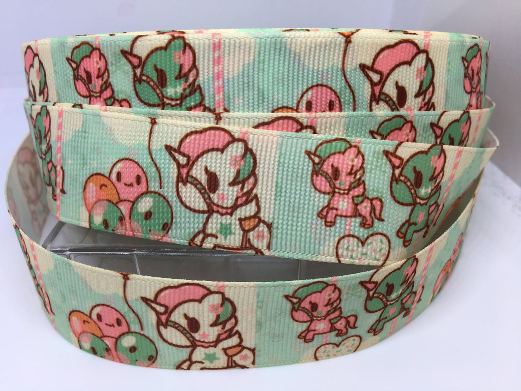 1 yard 1 inch Unicorno & Donutella  Anime TokiDoki Kawaii Grosgrain Ribbon - Bow Making Ribbon  Mermaid Toki Doki