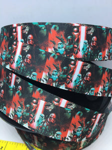 BTY  1 yard 1 inch wars with Star Kylo Ren First Order Grosgrain Ribbon - Comic Bow Making - Cosplay Capt.Phasma Storm Trooper