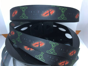 "1 yard 5/8"" X-Files Grosgrain Ribbon - Bow Making Ribbon - Grosgrain Ribbon X Files"