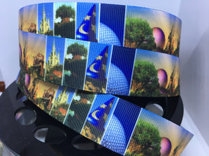 1 yard 1 inch Walt Disney World Parks Photo Print Grosgrain Ribbon Bow Making Ribbon
