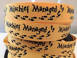 "7/8"" Mischief Managed Foil Print  Grosgrain Ribbon,Harry Potter Inspired"