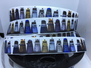 "1 yard 1 inch"" Dr. Who BBC SiFi Dalek Grosgrain Ribbon"