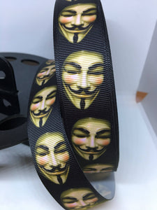 1 yard 1 inch Guy Fawkes mask Lanyard Print Grosgrain Ribbon - Bow Making Ribbon - Anonymous mask V for Vendetta